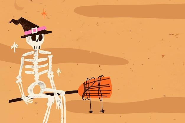 Ilustración de vector de fondo de halloween de dibujos animados, bruja esqueleto espeluznante