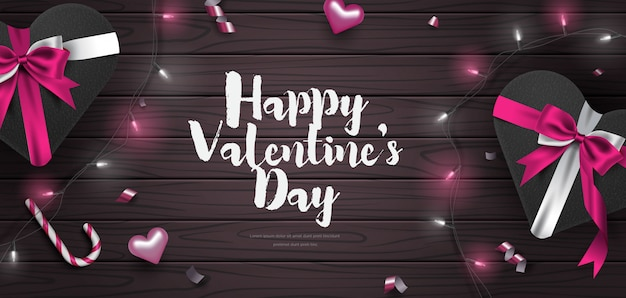 Ilustración de vector de fondo lindo banner de san valentín