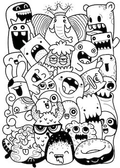 Ilustración de vector de fondo lindo doodle monster