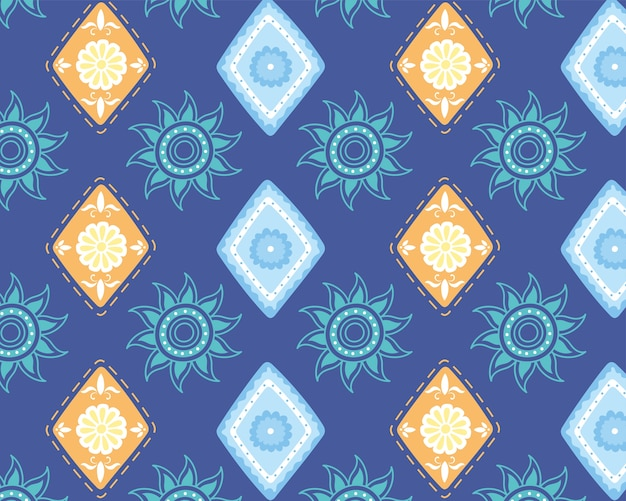 Ilustración de vector de fondo de moda de textura étnica hecha a mano, flores florales