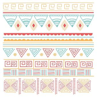 Ilustración de vector de fondo de mosaico étnico hecho a mano, ornamento tribal estilo