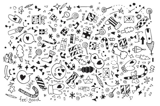 Ilustración de vector de fondo de navidad doodle
