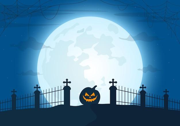 Ilustración de vector de fondo de la noche de halloween con cementerio a la luz de la luna y calabazas aterradoras