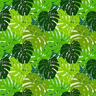 Ilustración de vector de fondo de patrones sin fisuras de hoja de palma eps10