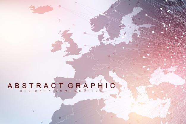 Ilustración de vector de fondo de red y conexión
