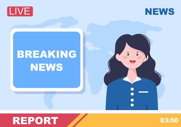 Ilustración de vector de fondo de reportero de noticias de última hora con locutor o periodista en el monitor sobre incidentes de información, actividades, clima y anuncios
