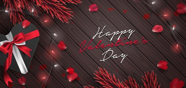 Ilustración de vector de fondo romántico banner de san valentín