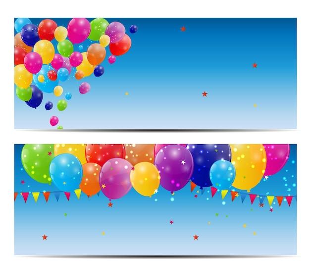 Ilustración de vector de fondo de tarjeta de globos brillantes de color