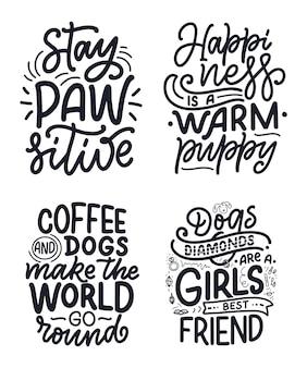 Ilustración de vector con frases divertidas dibujado a mano citas inspiradoras sobre perros.
