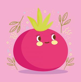 Ilustración de vector fresco de tomate de personaje de dibujos animados de nutrición de alimentos lindo