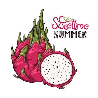 Ilustración del vector de la fruta del dragón. letras: aloha sweet time summer.