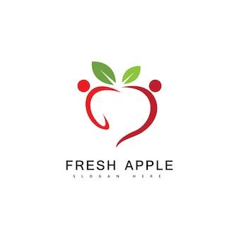Ilustración de vector de fruta fresca de logotipo de fruta de manzana
