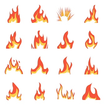 Ilustración de vector de fuego y signo rojo. conjunto de fuego y fogata