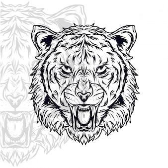 Ilustración de vector furioso cabeza de tigre