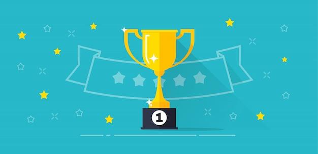 Ilustración de vector de ganador de la copa de competencia recompensa en diseño de dibujos animados plana