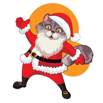 Ilustración de vector de gato de santa con fondo blanco