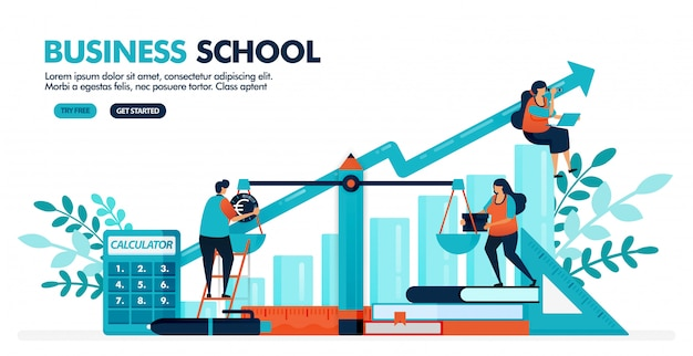 La ilustración del vector de la gente está calculando el balance en la escala. diagrama de gráfico de barras. escuela de negocios, contabilidad y economía.