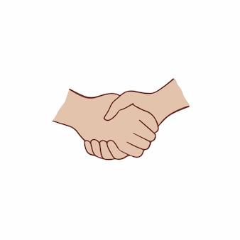 Ilustración de vector de gesto de mano de símbolo de apretón de manos