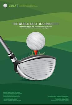 Ilustración del vector del golf del cartel