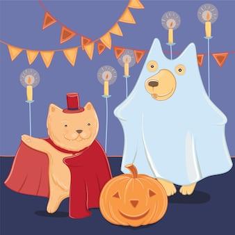 Ilustración de vector con gracioso perro y gato en disfraces de halloween. diversión de halloween para niños. plantilla para tarjeta de felicitación.