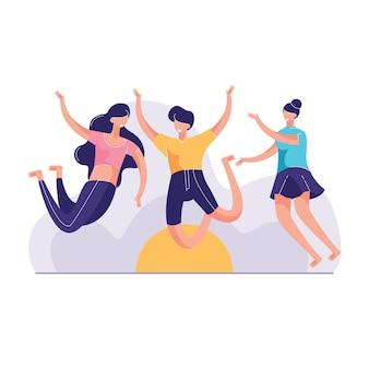 Ilustración de vector de grupo tres joven mujer saltando playa