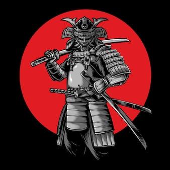 Ilustración de vector de guerrero samurai japonés
