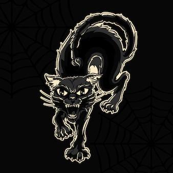 Ilustración de vector de halloween de gato negro enojado