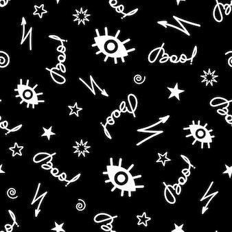 Ilustración de vector de halloween de patrones sin fisuras con inscripción boo de escritura a mano y signos espeluznantes ...