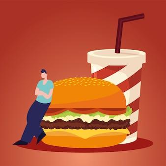 Ilustración de vector de hamburguesa y refresco de hombre y comida rápida