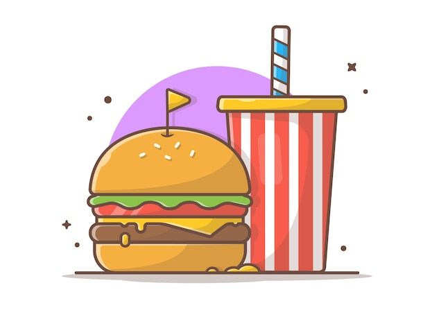 Ilustración de vector de hamburguesa y refresco