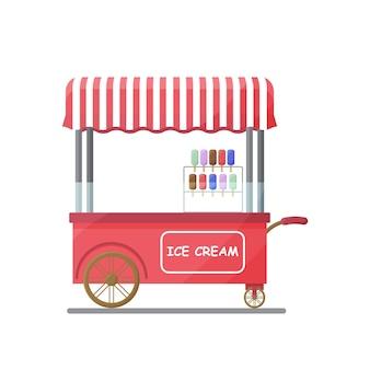 Ilustración de vector de helado de carrito de comida callejera aislado sobre fondo blanco