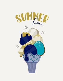 Ilustración de vector con helado. concepto de horario de verano.