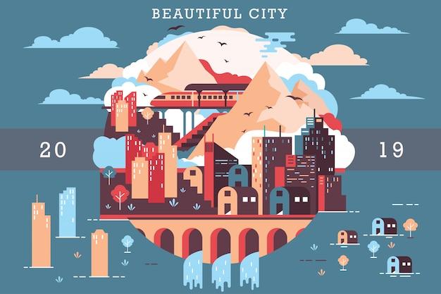 Ilustración de vector de hermosa ciudad