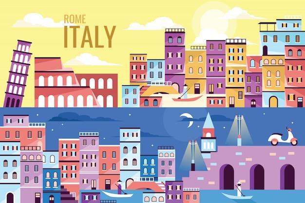 Ilustración de vector hermosa italia