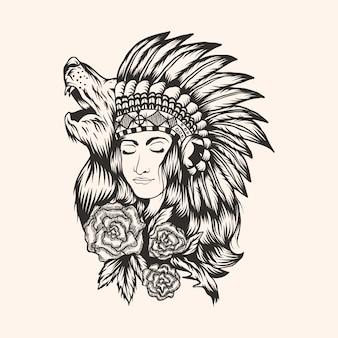 Ilustración de vector de hermosa niña nativa americana