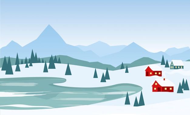 Ilustración de vector de hermoso paisaje de invierno con casas rojas en el fondo de las montañas y el lago en estilo de dibujos animados plana.