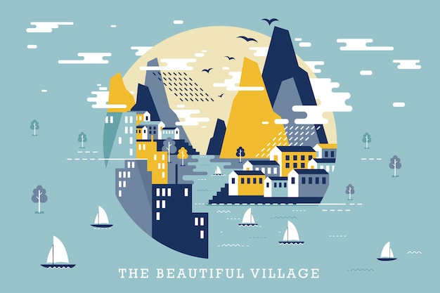 Ilustración de vector de hermoso pueblo