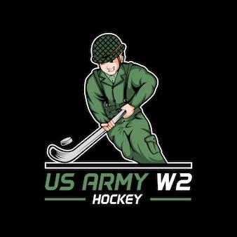 Ilustración de vector de hockey de la guerra mundial 2 ejército estadounidense