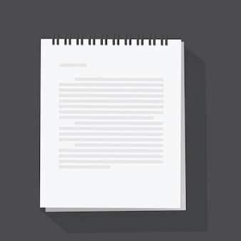 Ilustración de vector de hoja de bloc de notas