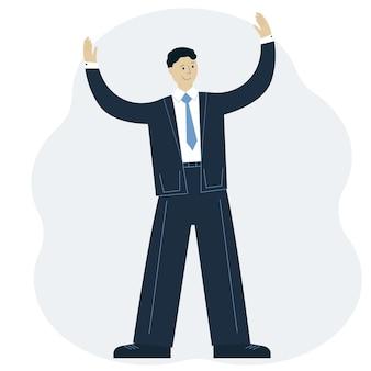 Ilustración de vector de un hombre exitoso en un traje con las manos en alto. concepto de logro empresarial