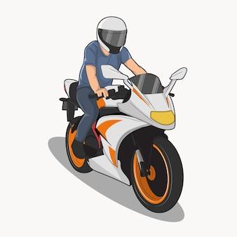 Ilustración de vector de un hombre en una motocicleta tranquilamente