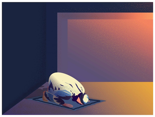 Ilustración de vector de hombre musulmán religioso orar a dios en casa en la celebración de ramadán.