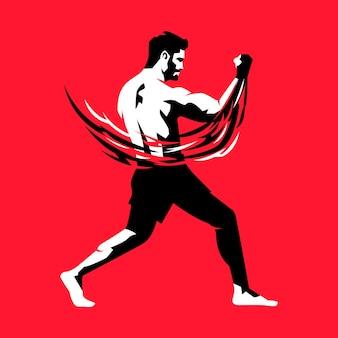 Ilustración de vector de hombre practicando boxeo de uppercut