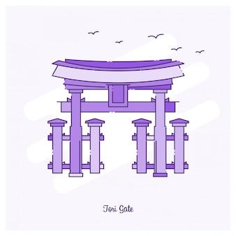 Ilustración de vector de horizonte de tori gate landmark línea punteada púrpura
