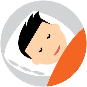 Ilustración de vector de icono de avatar de almohada de sueño cabeza de hombre