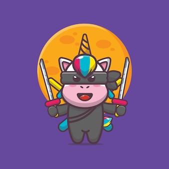 Ilustración de vector de icono de dibujos animados lindo unicornio ninja