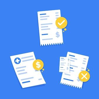 Ilustración de vector de icono de diseño plano de cheque financiero análisis de documento de factura de impuestos de dibujos animados plana