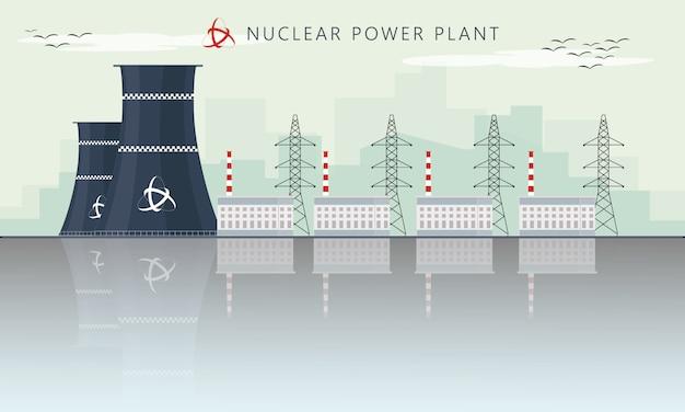 Ilustración de vector de icono de fábrica de planta de energía nuclear con horizonte de rascacielos de ciudad urbana
