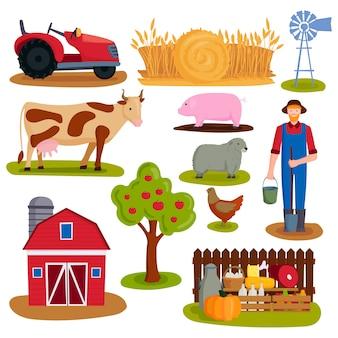 Ilustración de vector de icono de granja