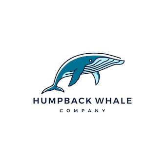 Ilustración de vector de icono de logotipo de ballena jorobada